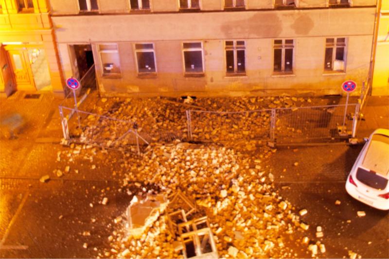Hauswand stürzt in Görlitz ein