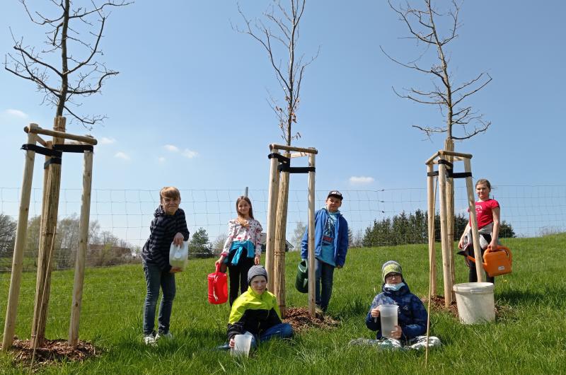 Kinder pflanzen Bäume für den Stadtwald
