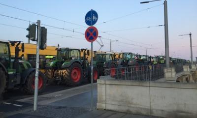 Bauernprotest: Traktoren verstopfen Dresden
