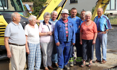 Gemeinsames Fest mit den Bauarbeitern
